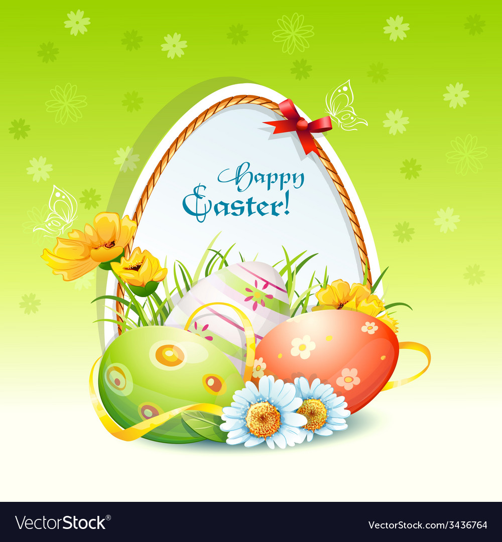 Happy easter card with flowers and easter eggs vector | Price: 3 Credit (USD $3)