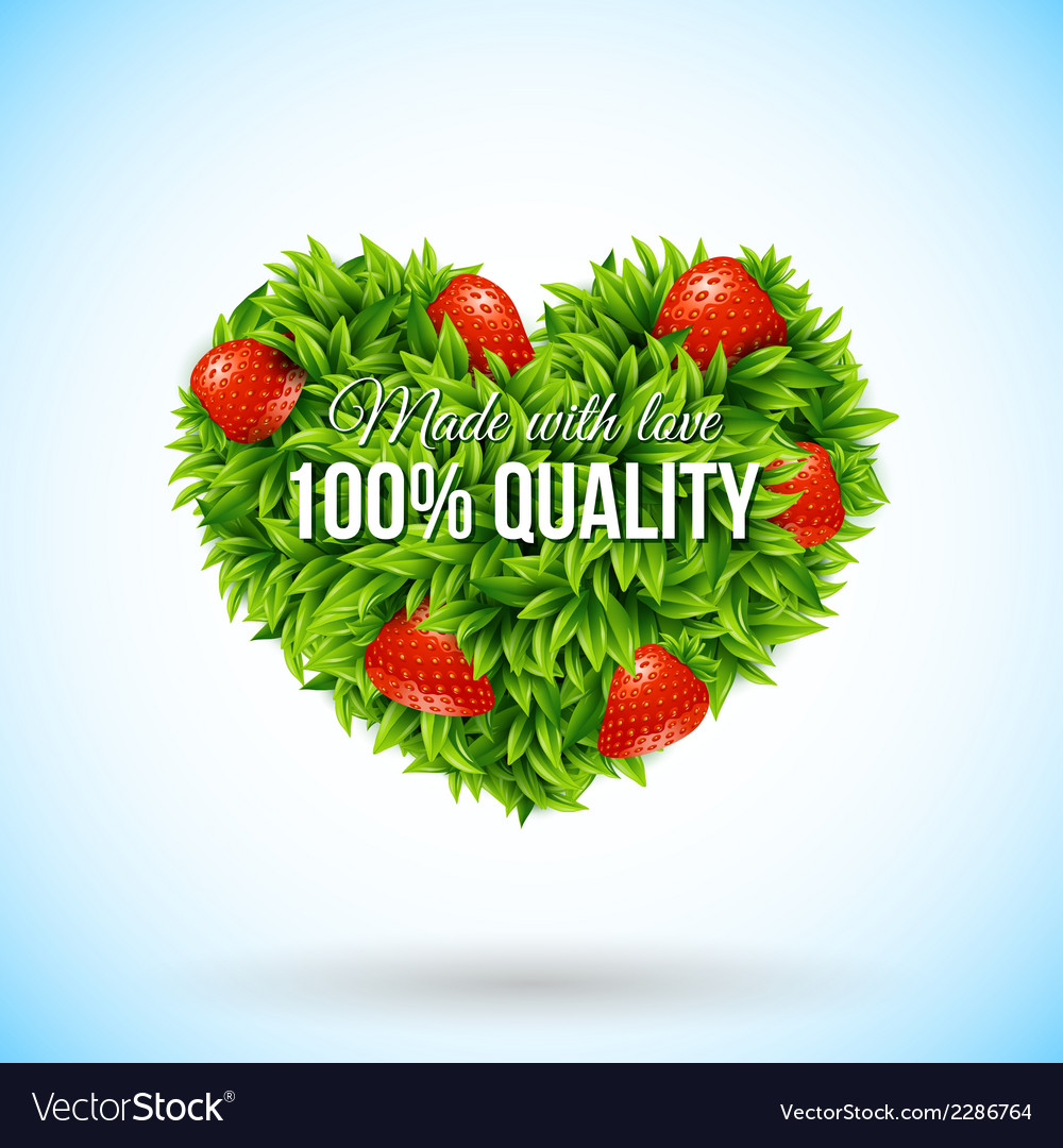 Heart shape label made of leafs business label vector | Price: 1 Credit (USD $1)