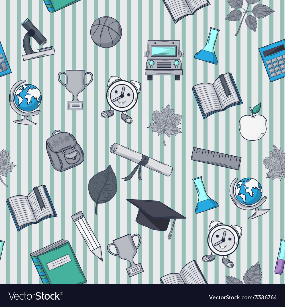 School pattern on striped background vector   Price: 1 Credit (USD $1)