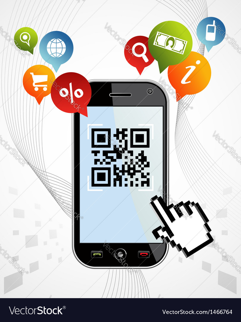 Smart phone qr code application vector | Price: 1 Credit (USD $1)