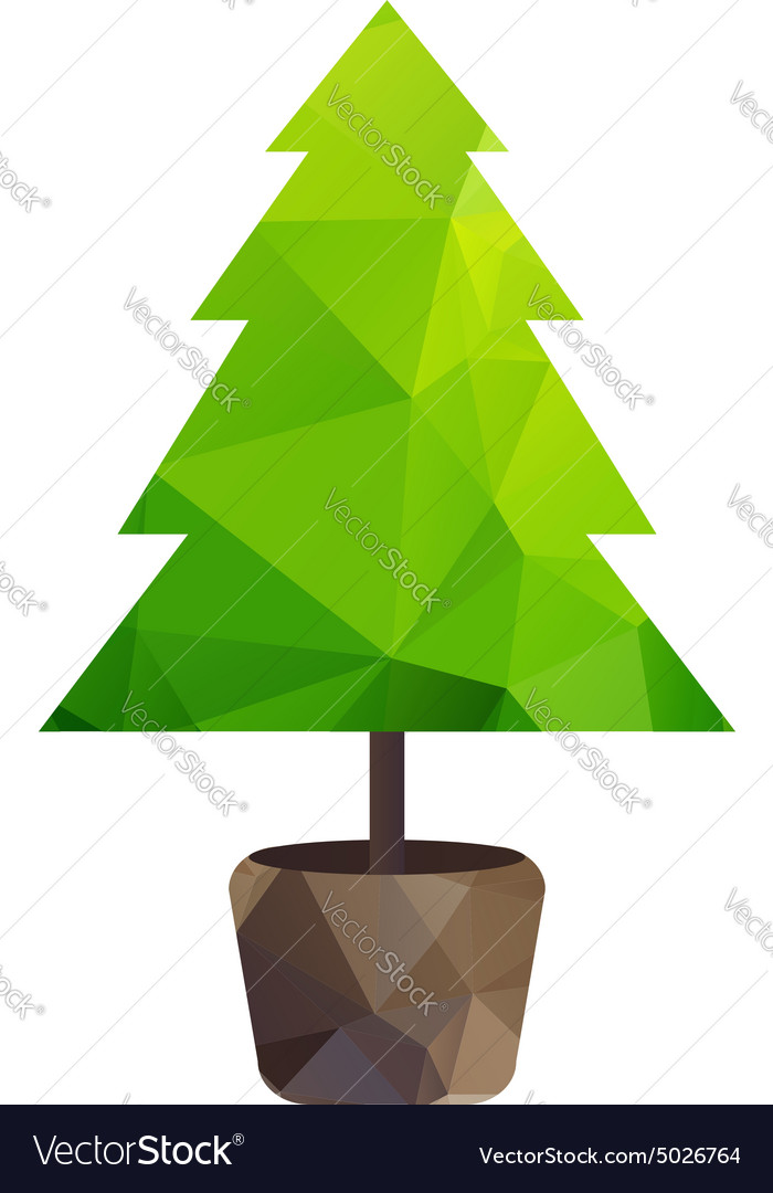 Triangle tree fir in pot vector