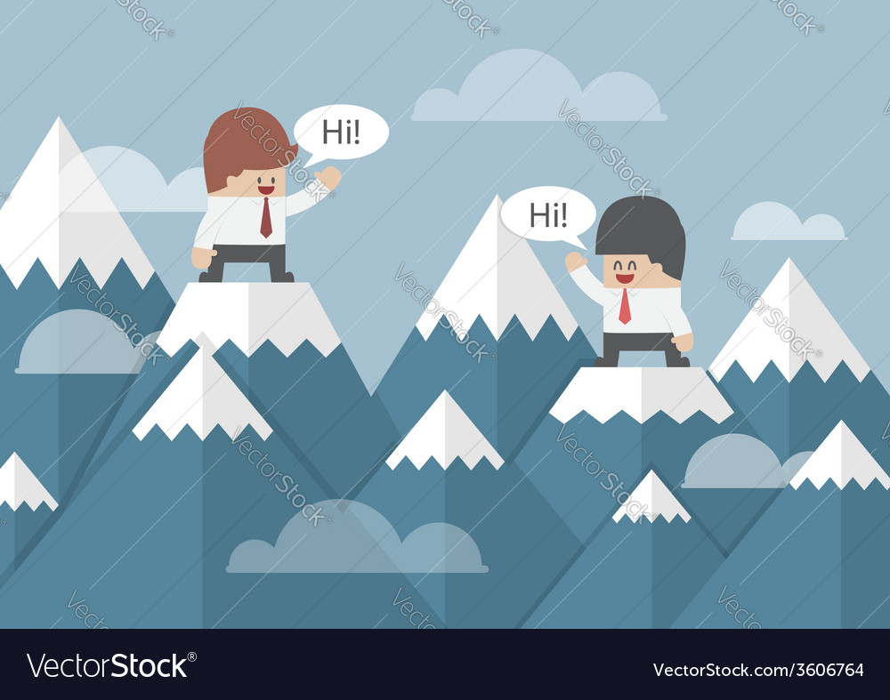 Two businessmen standing on the top of mountain vector | Price: 1 Credit (USD $1)