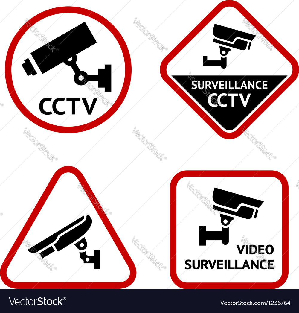 Video surveillance set white labels vector   Price: 1 Credit (USD $1)