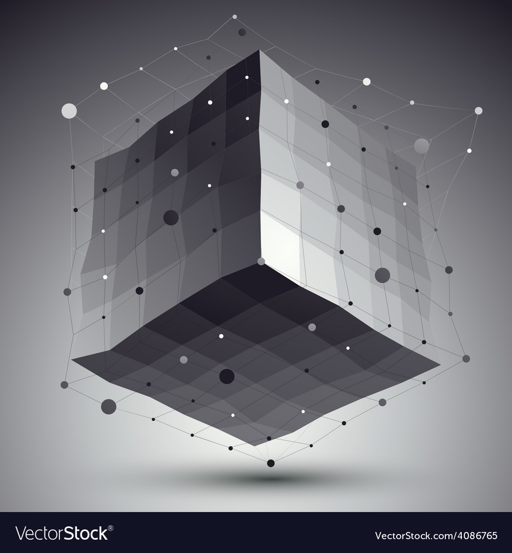 Abstract deformed monochrome cube with lines mesh vector