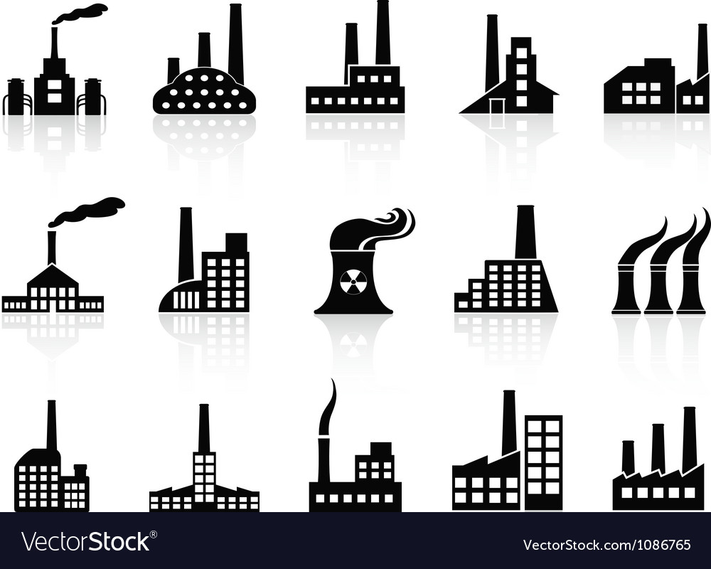 Black factory icons set vector | Price: 1 Credit (USD $1)