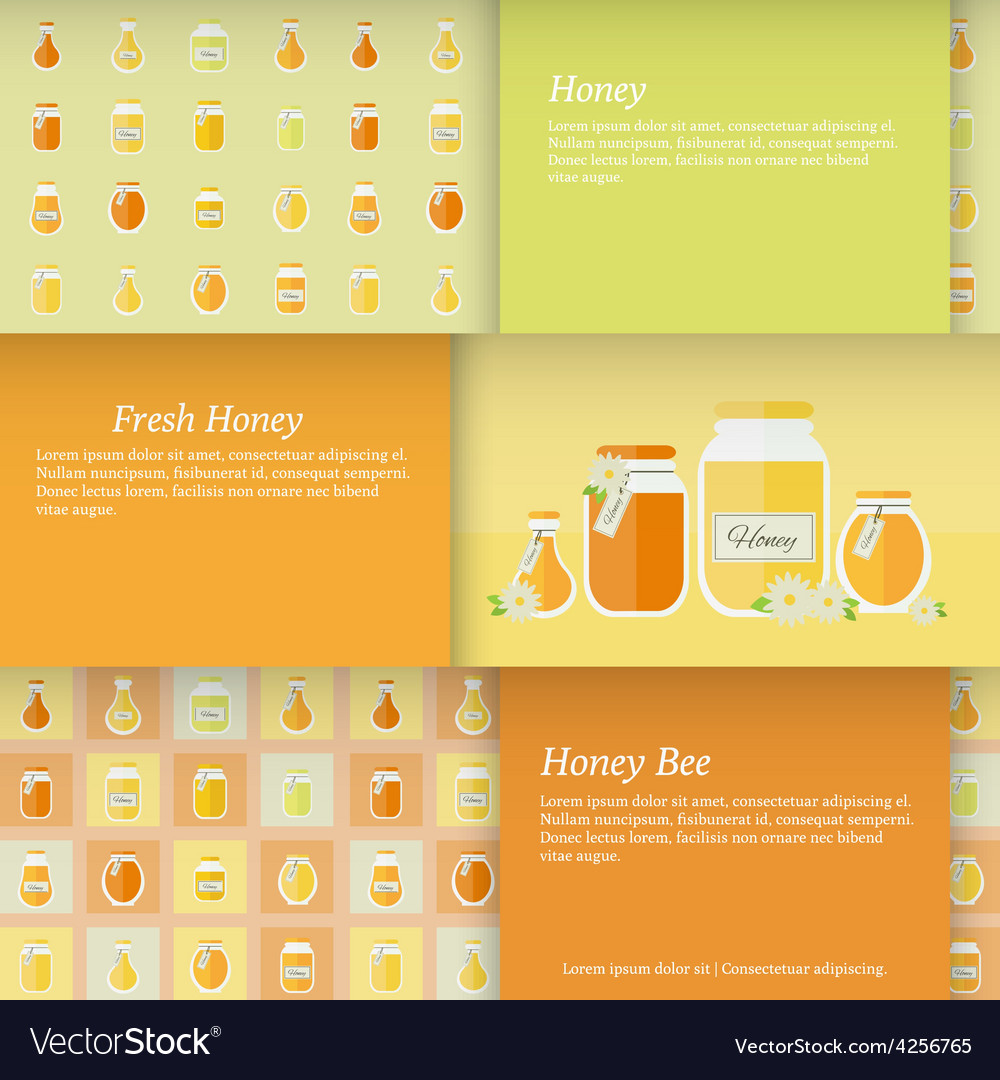 Cards with jars of honey set vector | Price: 1 Credit (USD $1)