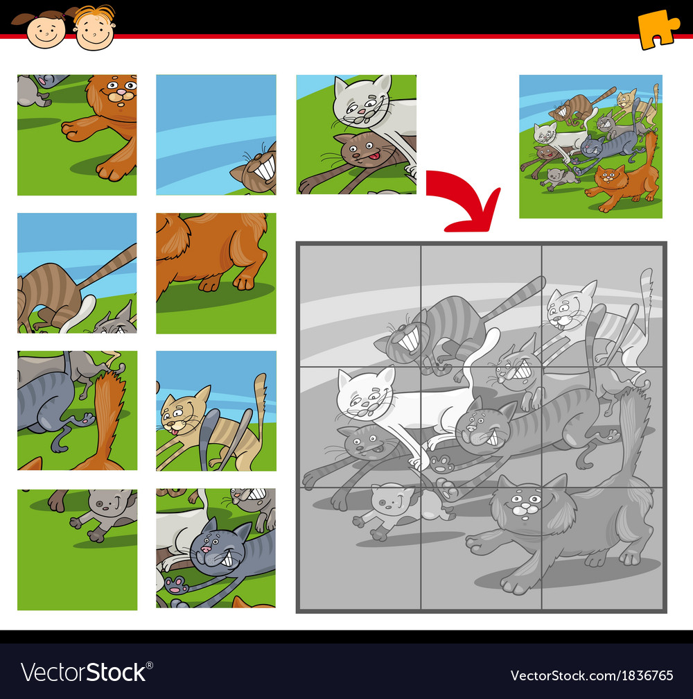 Cartoon cats jigsaw puzzle game vector | Price: 1 Credit (USD $1)
