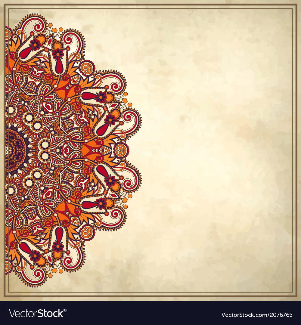 Flower circle design on grunge background vector