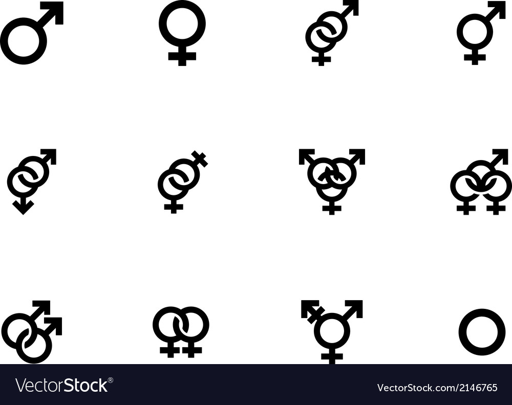 Gender identities icons on white background vector | Price: 1 Credit (USD $1)