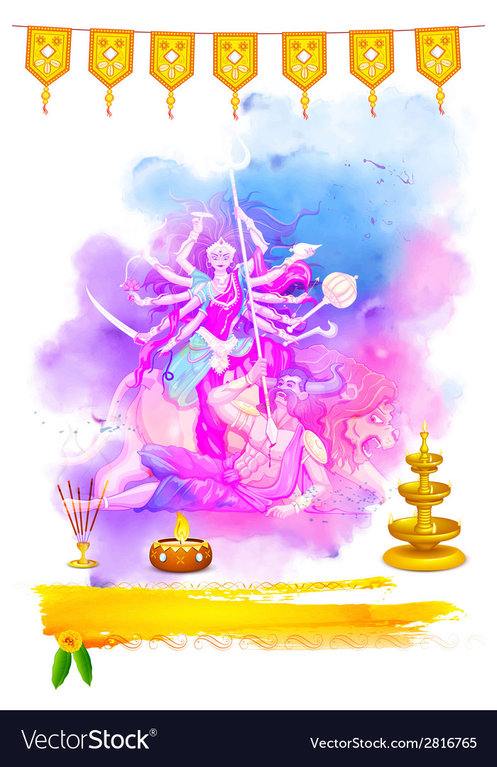 Goddess durga in happy navratri vector | Price: 1 Credit (USD $1)