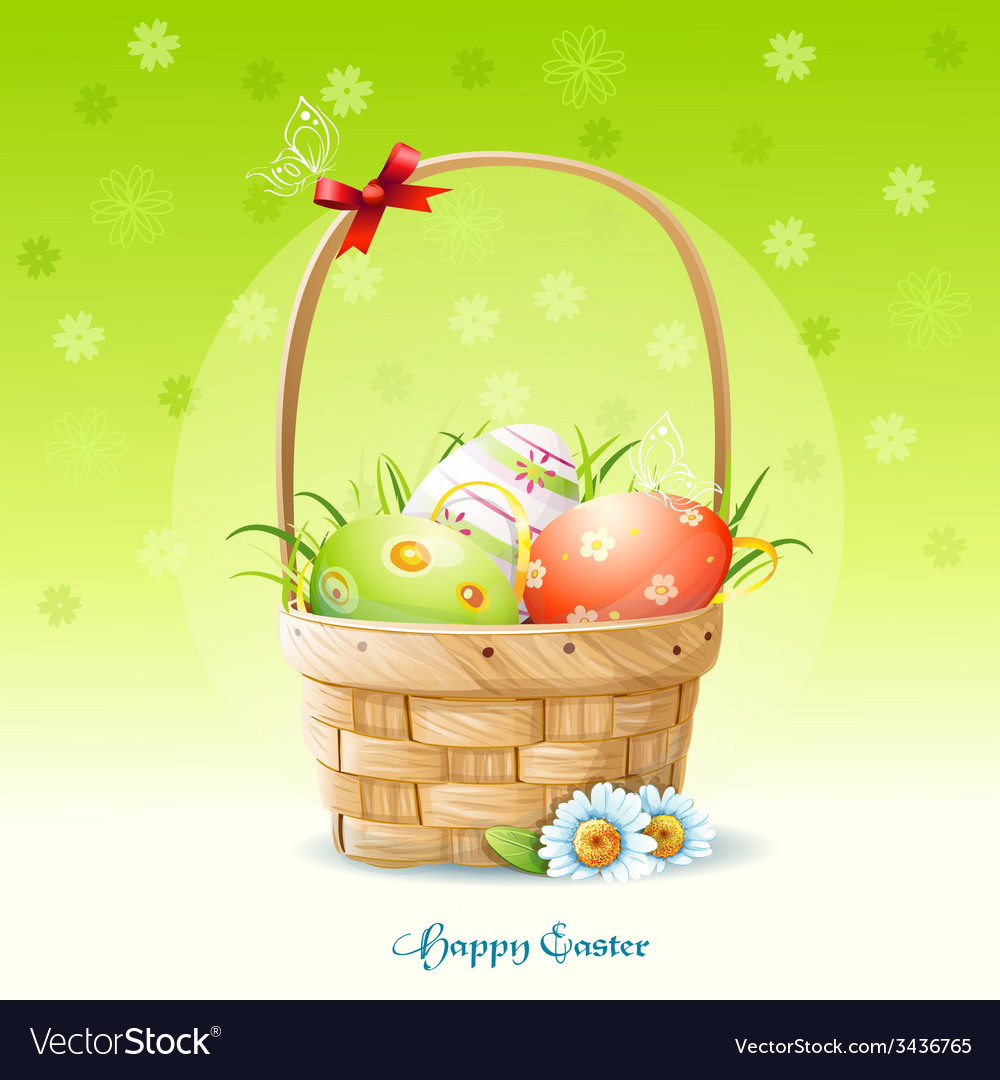 Happy easter card and a basket with easter eggs vector | Price: 3 Credit (USD $3)