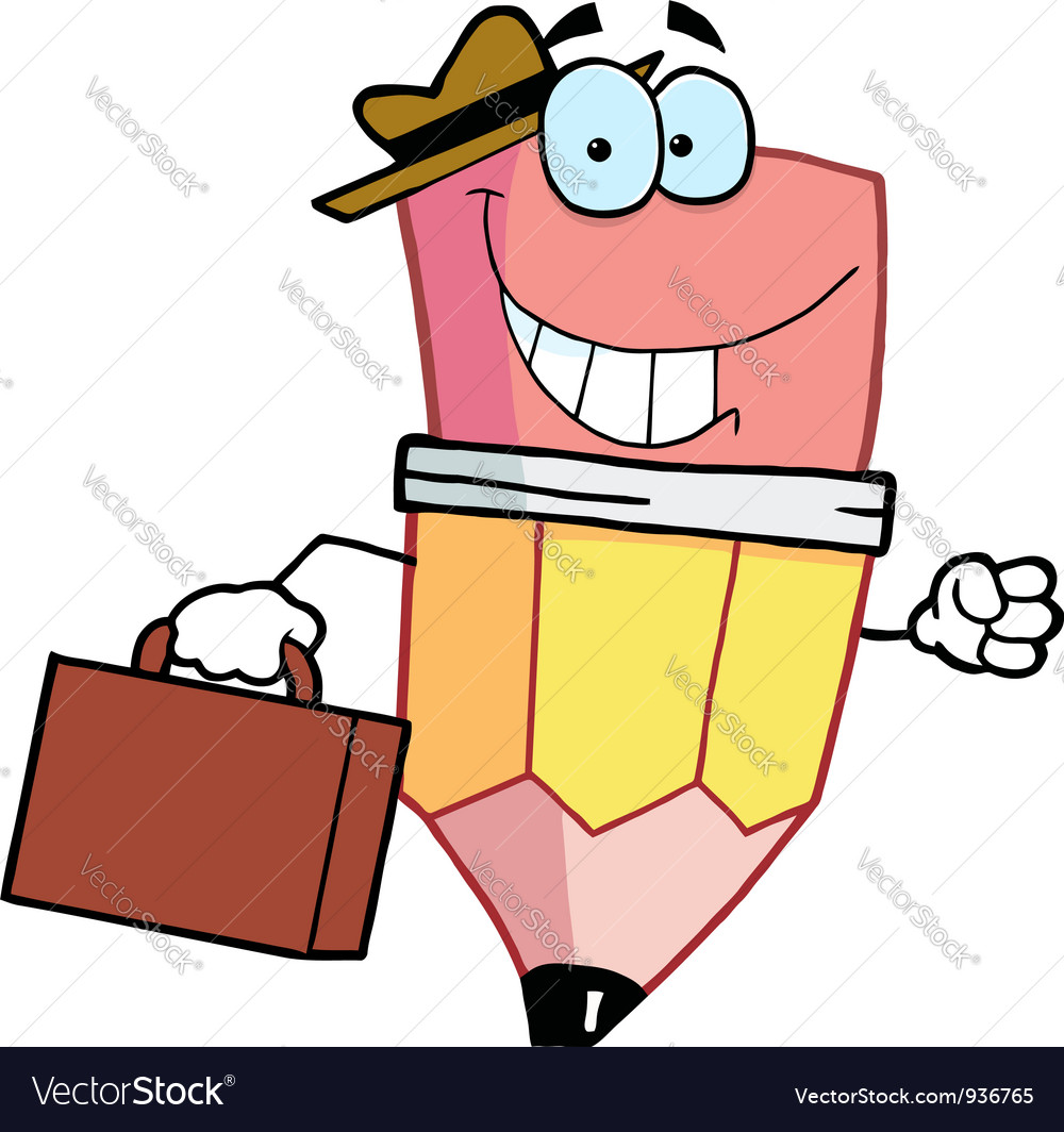 Pencil cartoon character carrying a briefcase vector   Price: 1 Credit (USD $1)