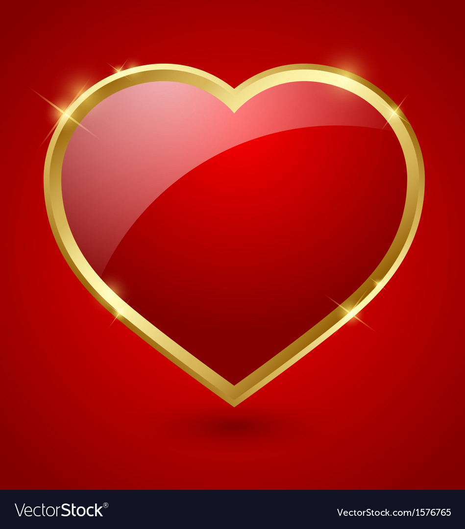 Red and golden heart vector | Price: 1 Credit (USD $1)
