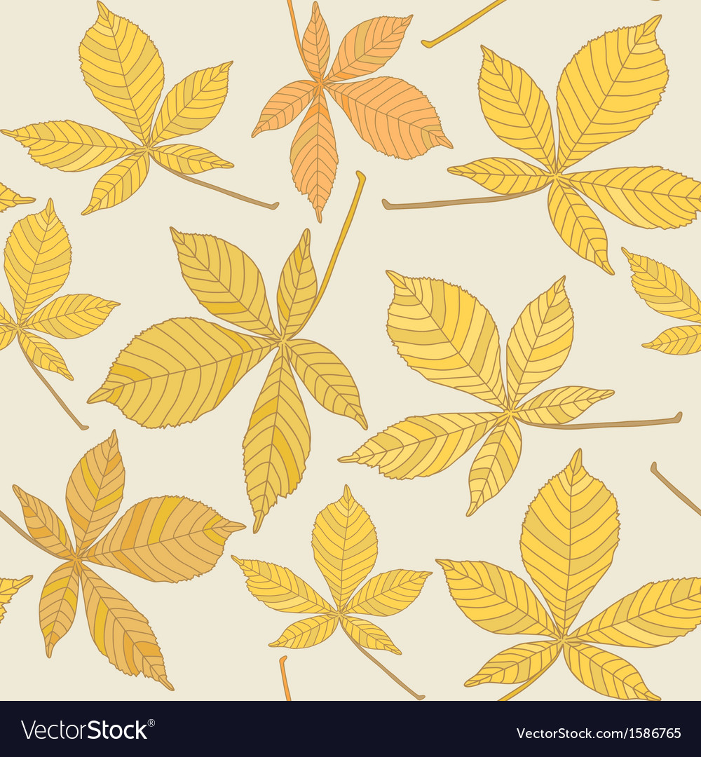 Seamless pattern with chestnut leaves vector | Price: 1 Credit (USD $1)