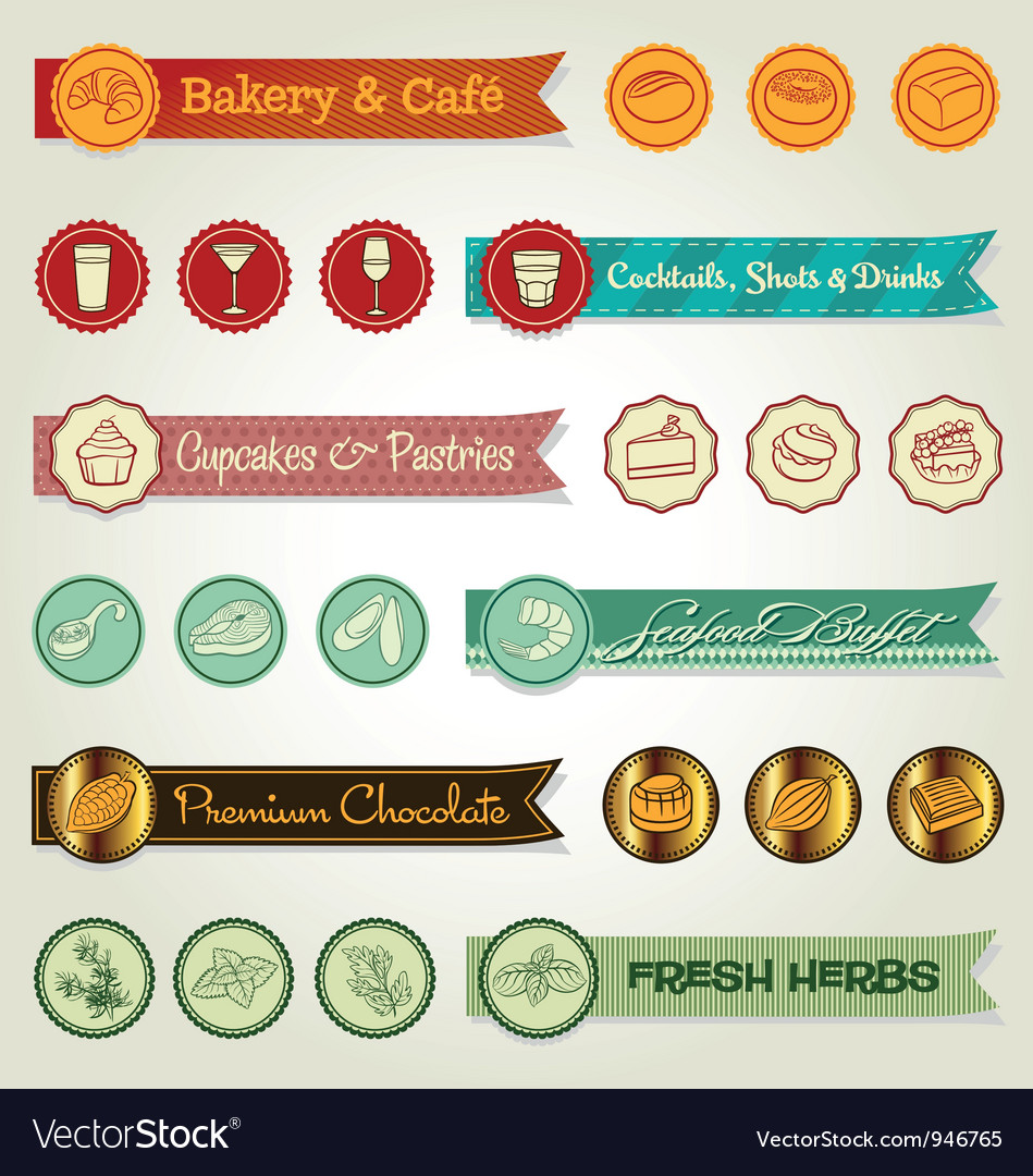 Set of ribbons and icons vector | Price: 1 Credit (USD $1)