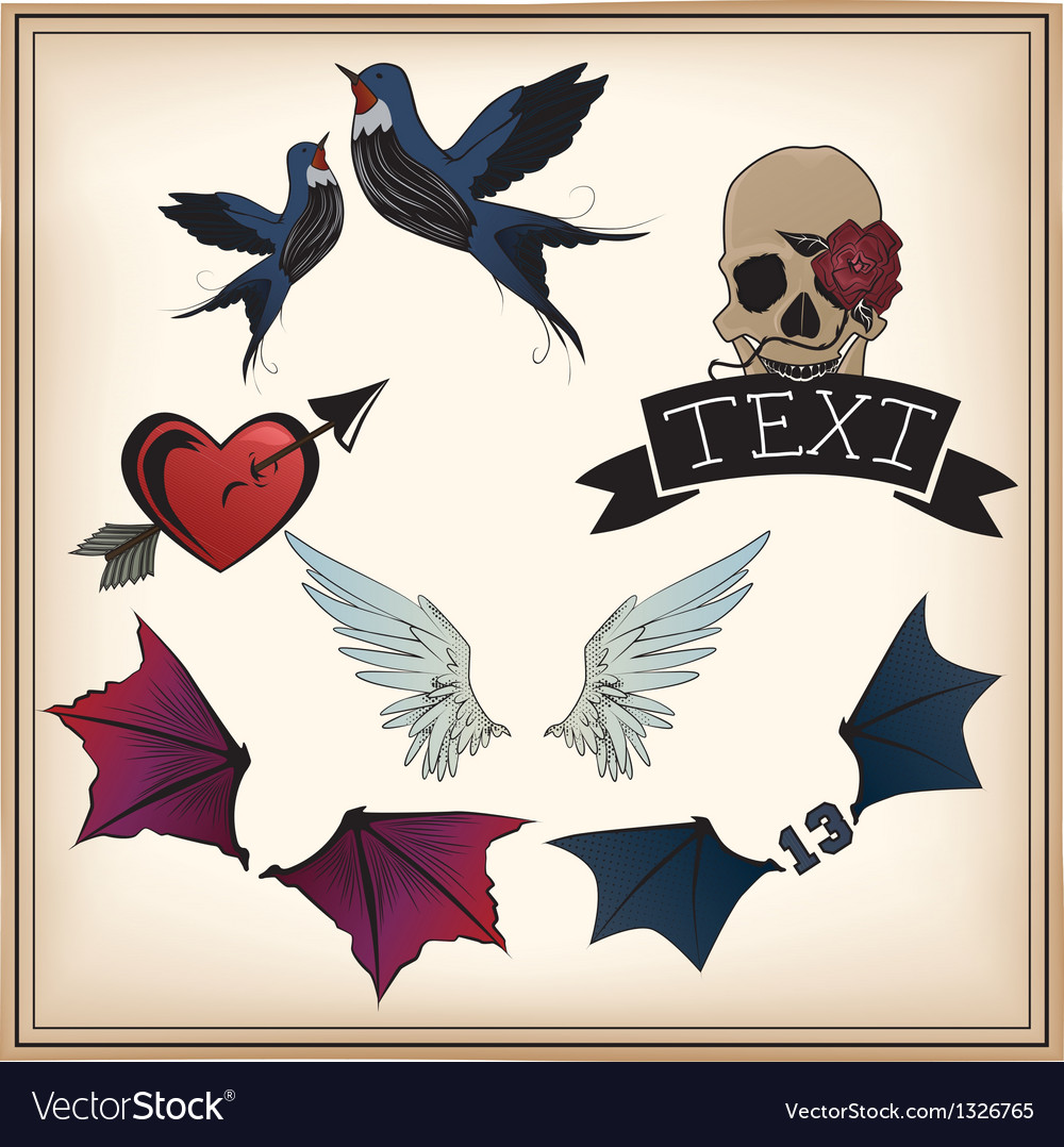 Set of tattoos vector | Price: 1 Credit (USD $1)