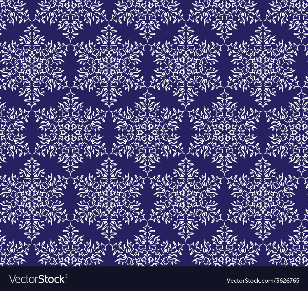 Snowflakes on a dark blue background seamless vector | Price: 1 Credit (USD $1)