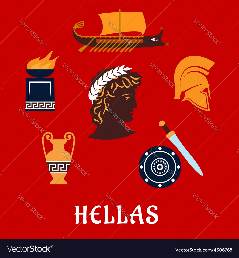 Traditional symbols of greece in flat style vector | Price: 1 Credit (USD $1)