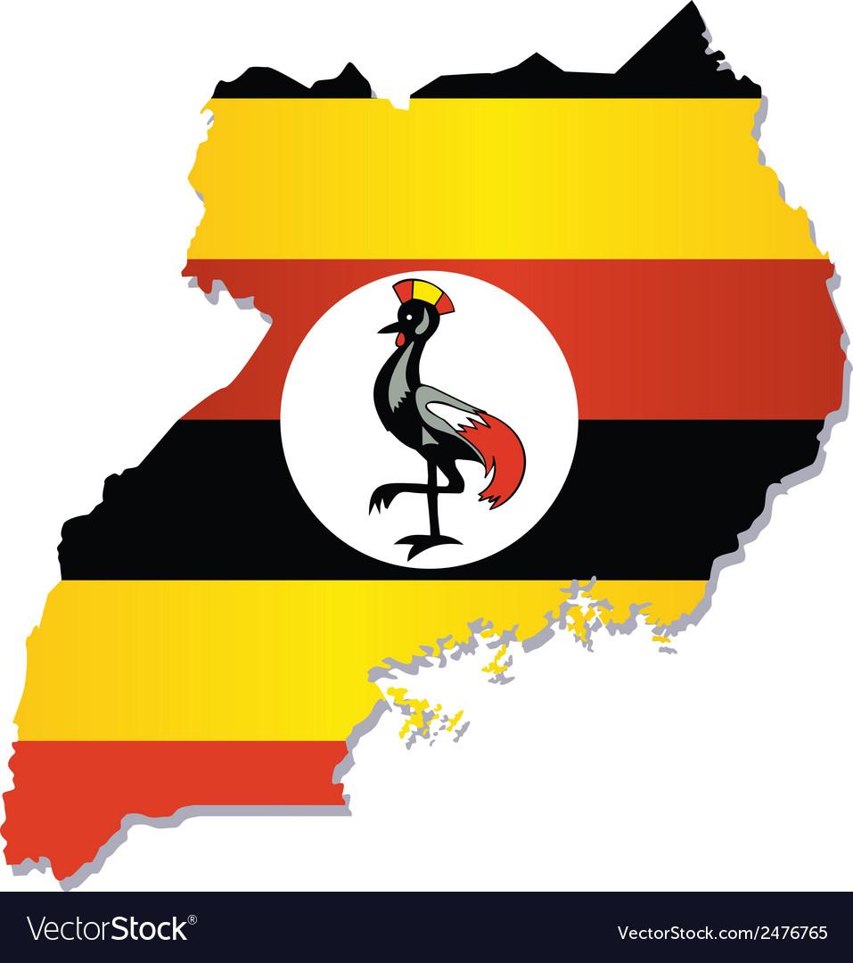 Uganda africa map flag vector | Price: 1 Credit (USD $1)