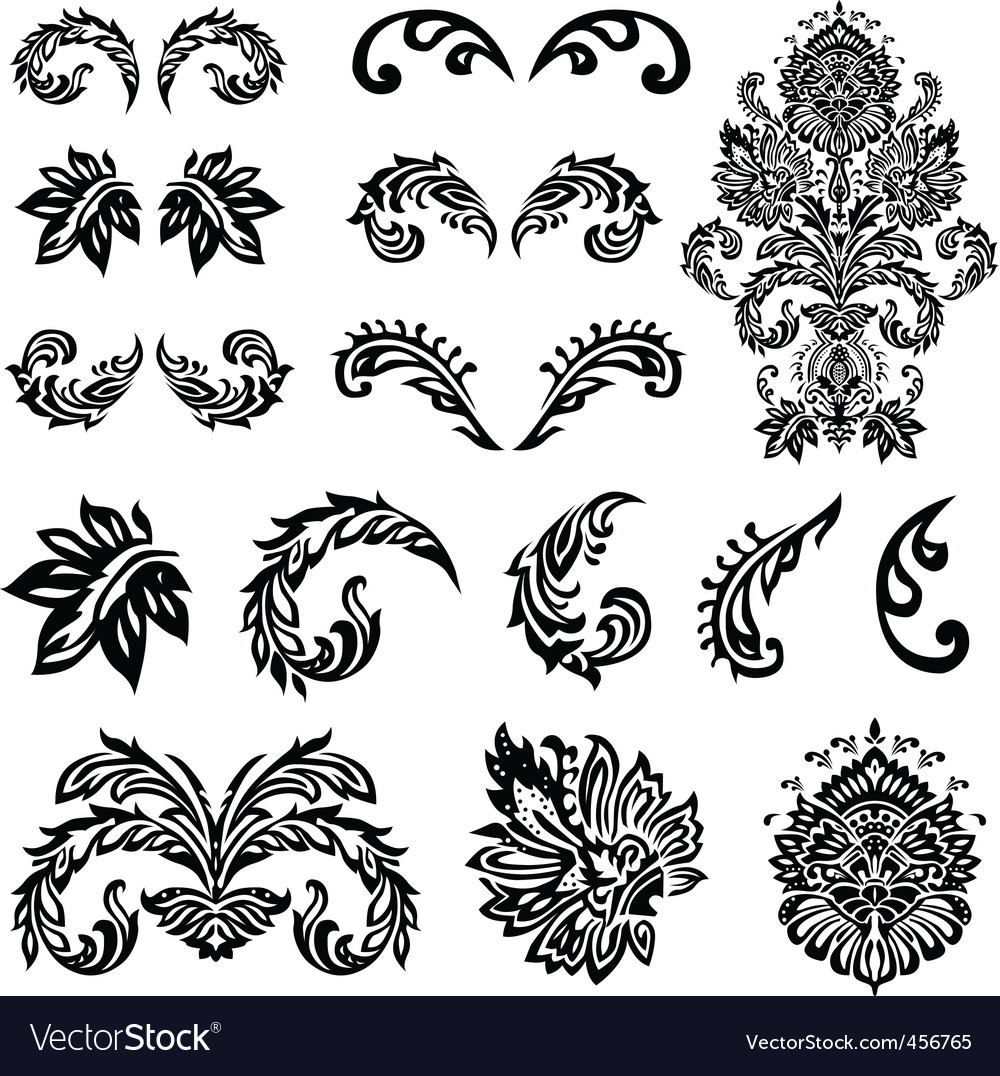 victorian ornament set vector | Price: 1 Credit (USD $1)