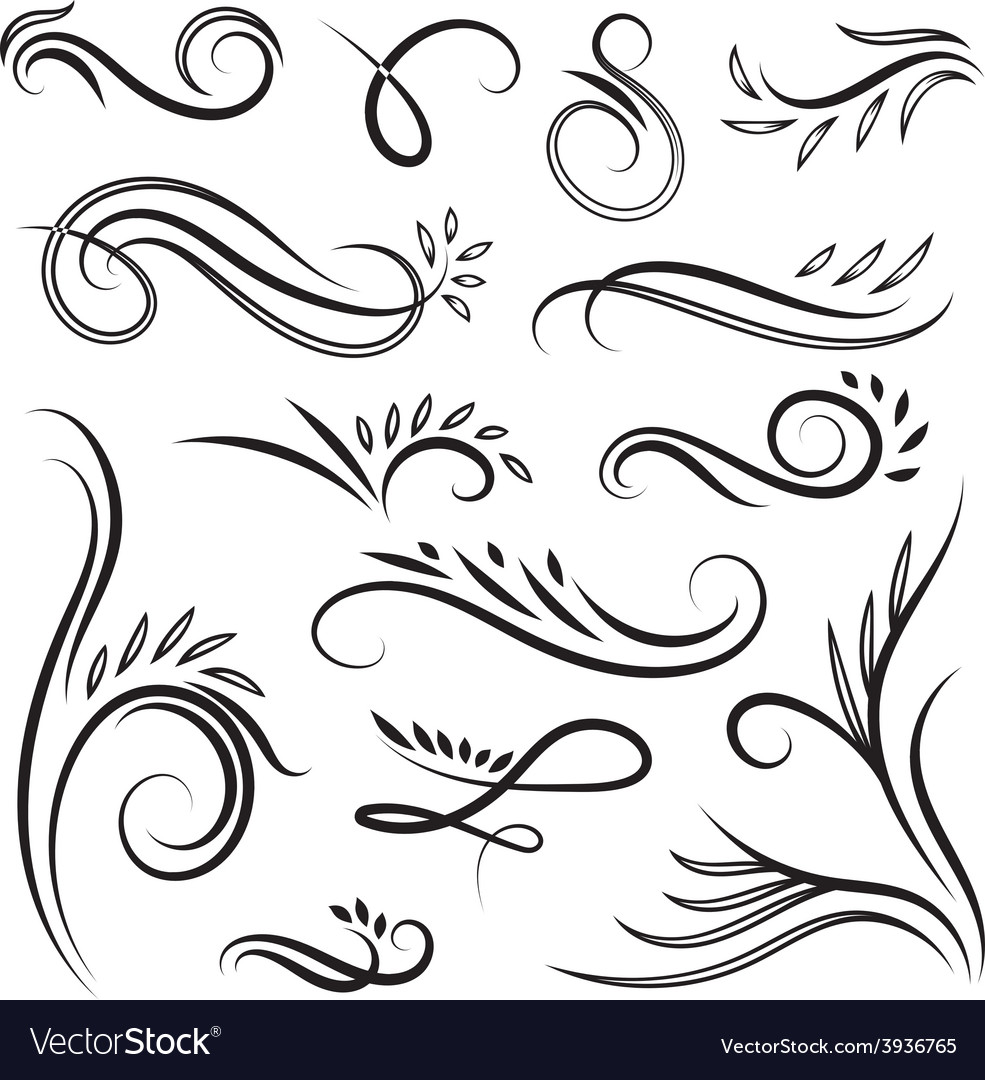 Vignettes with swirls and leaves vector | Price: 1 Credit (USD $1)