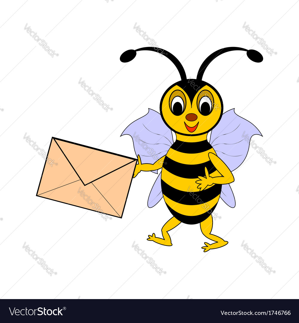 A funny cartoon bee with a letter in its hand vector | Price: 1 Credit (USD $1)