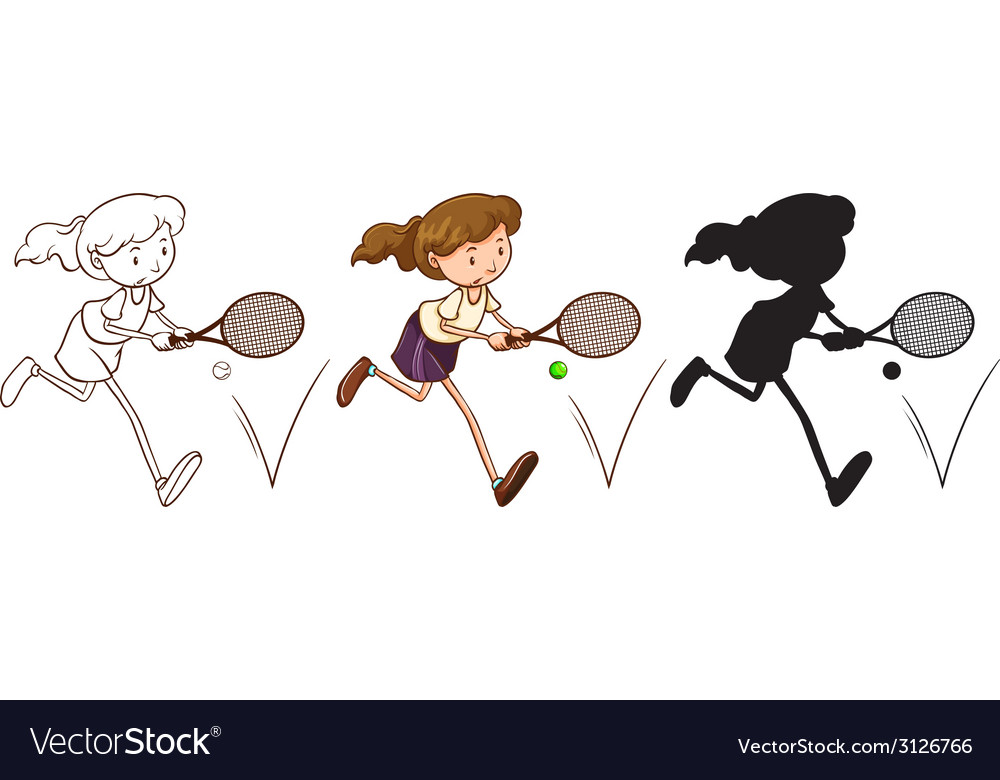A sketch of a tennis player in different colors vector | Price: 1 Credit (USD $1)