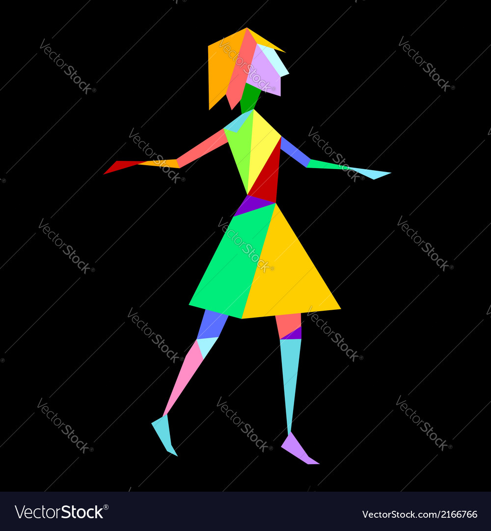 Abstract bright polygon girl on black background vector | Price: 1 Credit (USD $1)