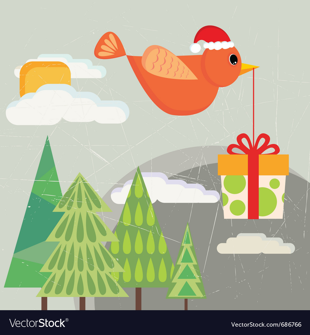 Bird carrying gift box vector | Price: 1 Credit (USD $1)