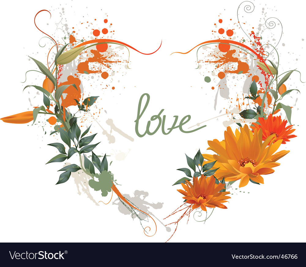 Floral grunge heart vector | Price: 1 Credit (USD $1)