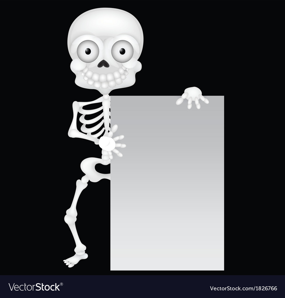 Funny skeleton cartoon with blank sign vector | Price: 1 Credit (USD $1)