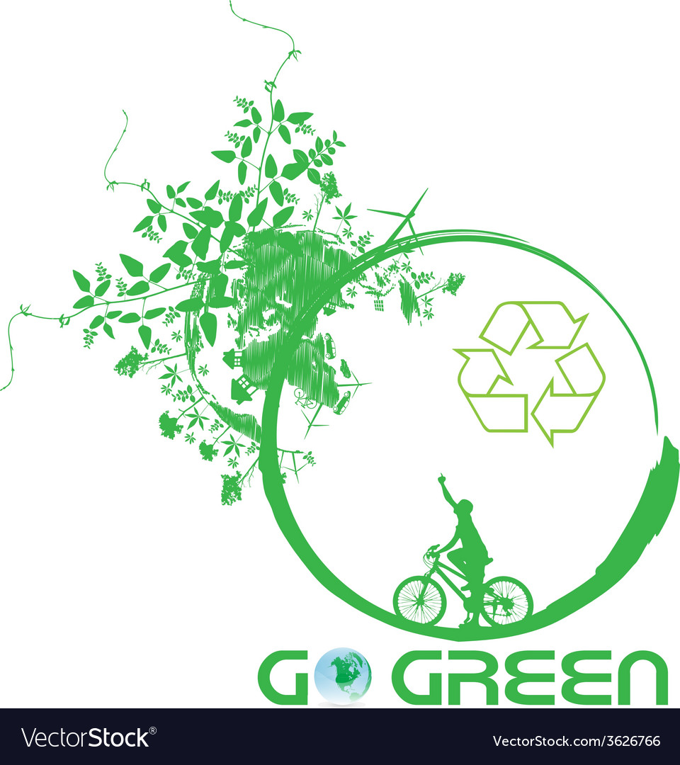 Green earth with bike reduce co2 vector | Price: 1 Credit (USD $1)