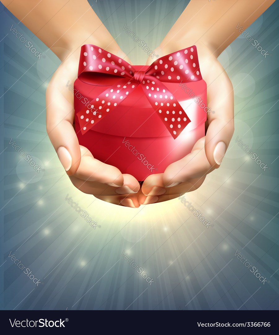 Holiday background with hands holding gift box vector | Price: 3 Credit (USD $3)