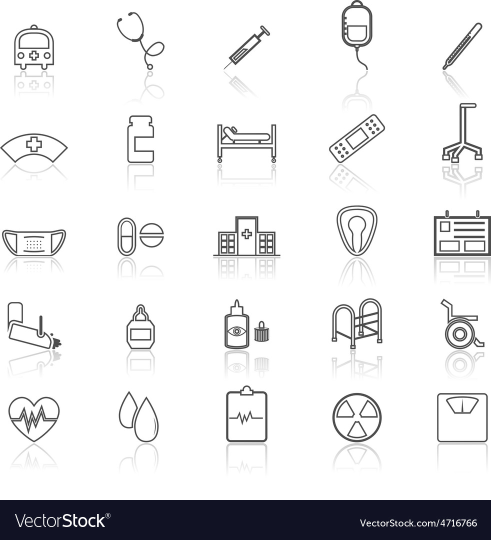 Hospital line icons with refelct on white vector | Price: 1 Credit (USD $1)