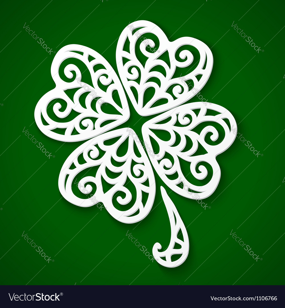 Ornate white cut out paper clover vector | Price: 1 Credit (USD $1)