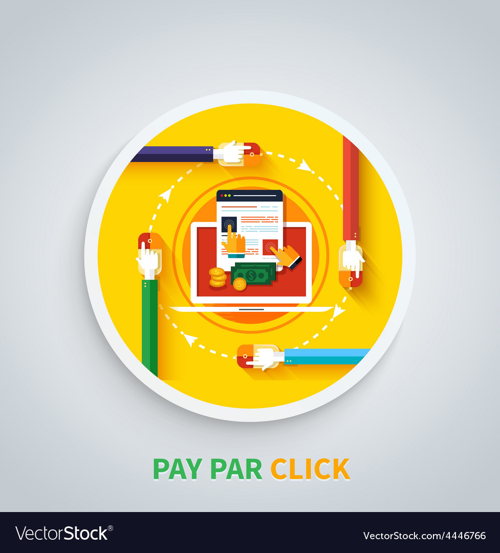 Pay per click concept internet advertising model vector | Price: 1 Credit (USD $1)
