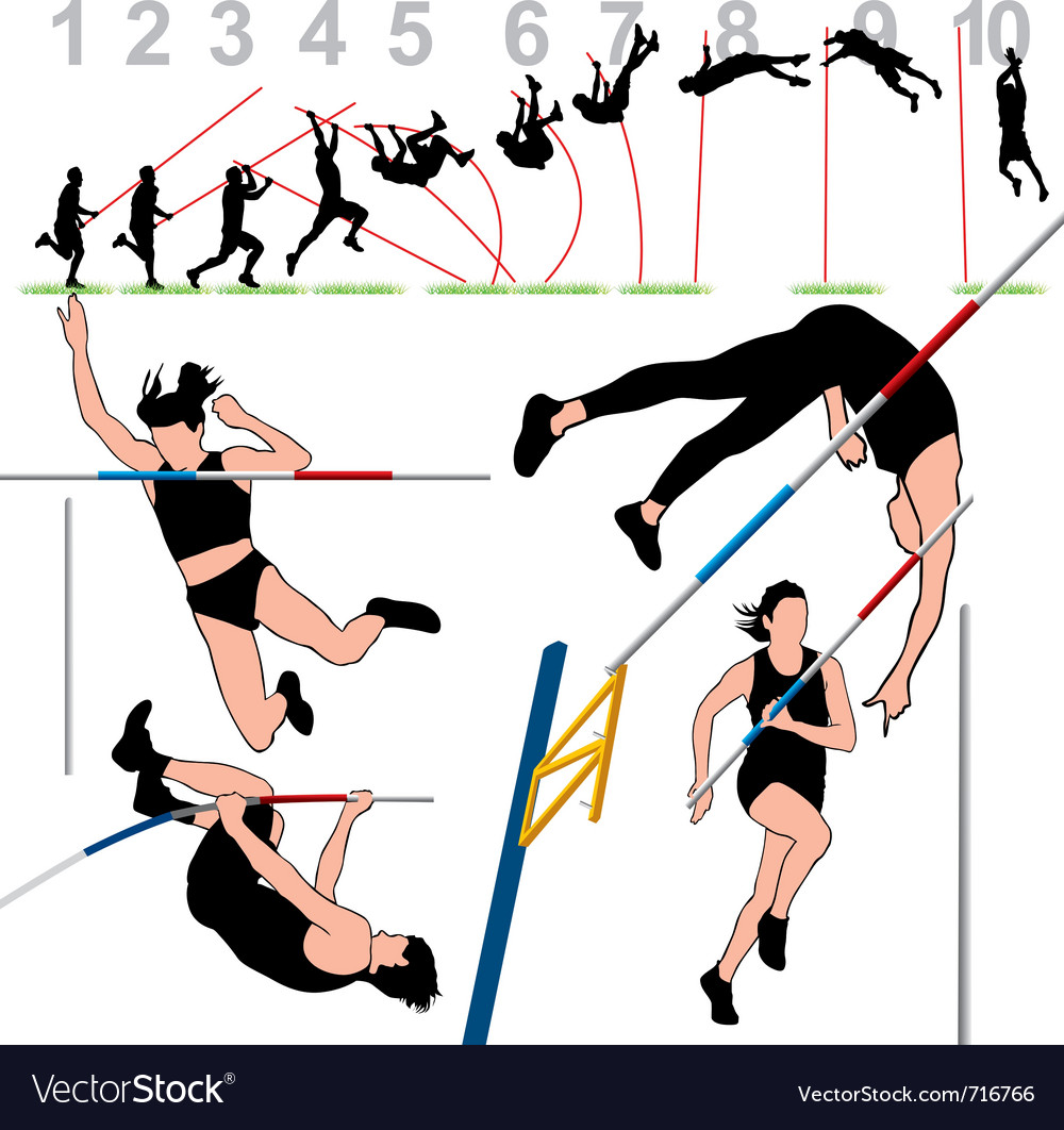 Pole vault athletes set vector | Price: 1 Credit (USD $1)
