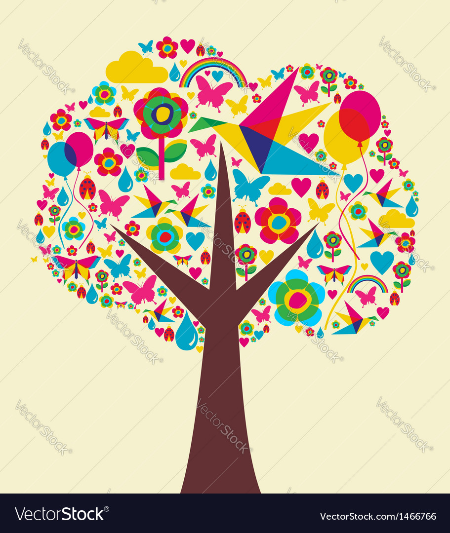 Spring time tree background vector | Price: 1 Credit (USD $1)
