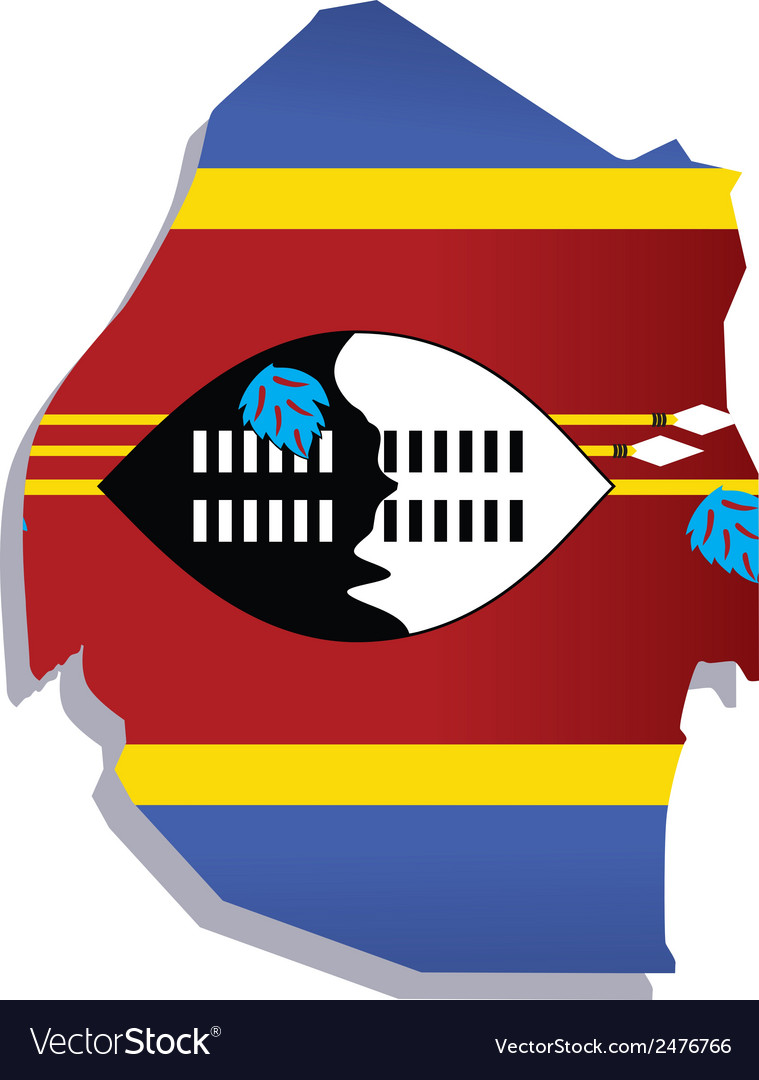 Swaziland africa map flag vector | Price: 1 Credit (USD $1)