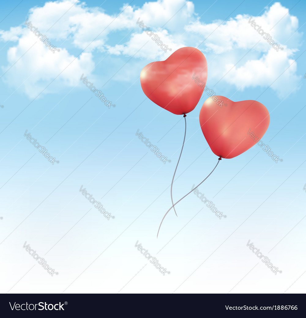 Valentine heart-shaped baloons in a blue sky with vector | Price: 1 Credit (USD $1)