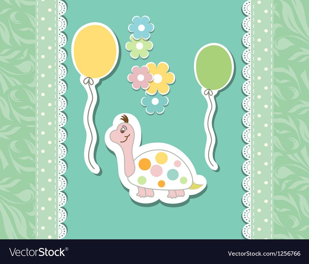 Vintage doodle baby tortoise vector | Price: 1 Credit (USD $1)