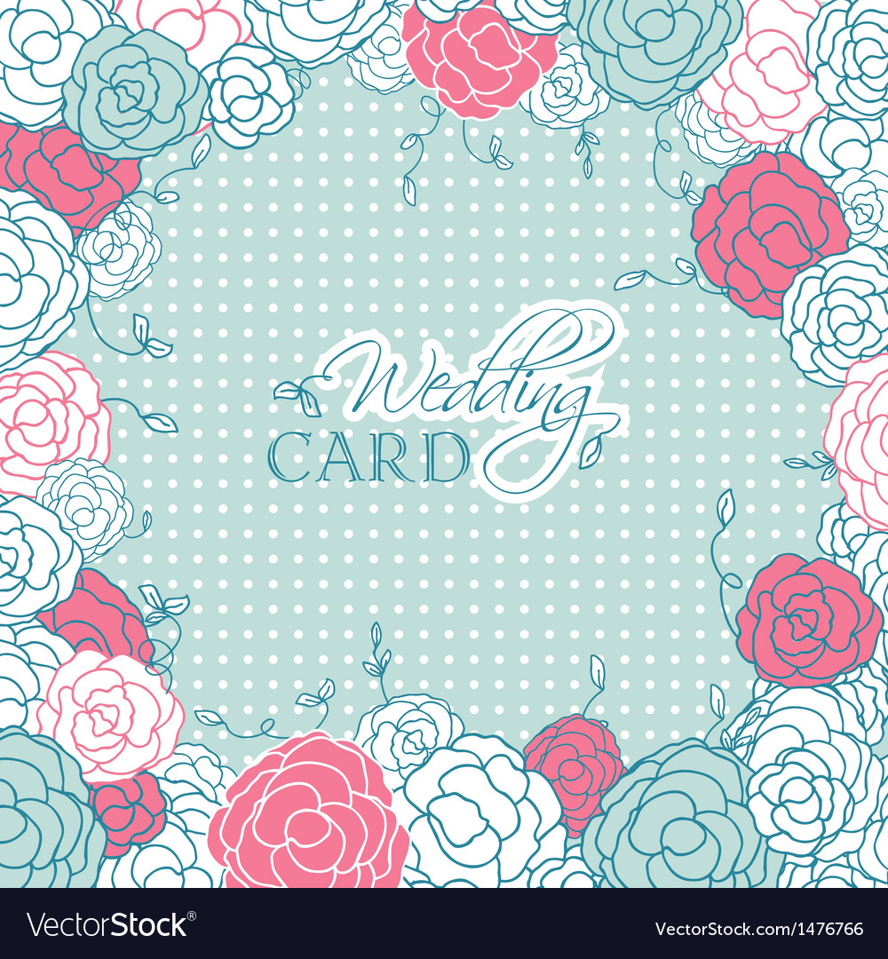 Wedding card with beautiful rose flowers on blue vector | Price: 1 Credit (USD $1)