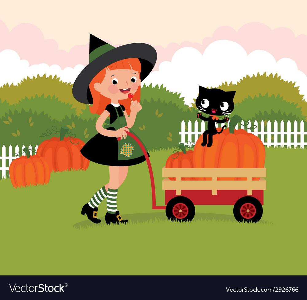 Witch with a wheelbarrow with pumpkins vector | Price: 1 Credit (USD $1)