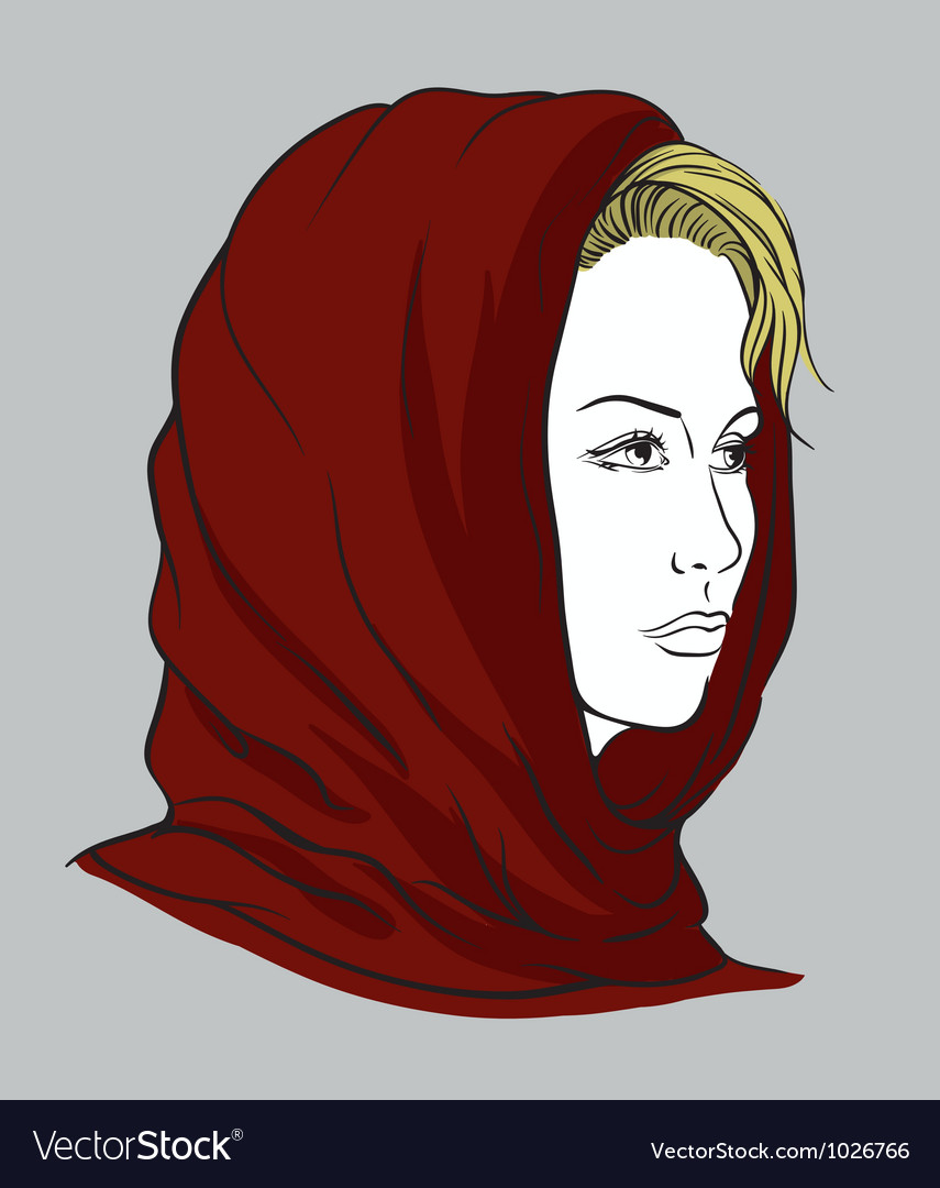 Young woman with knitted scarf vector   Price: 3 Credit (USD $3)