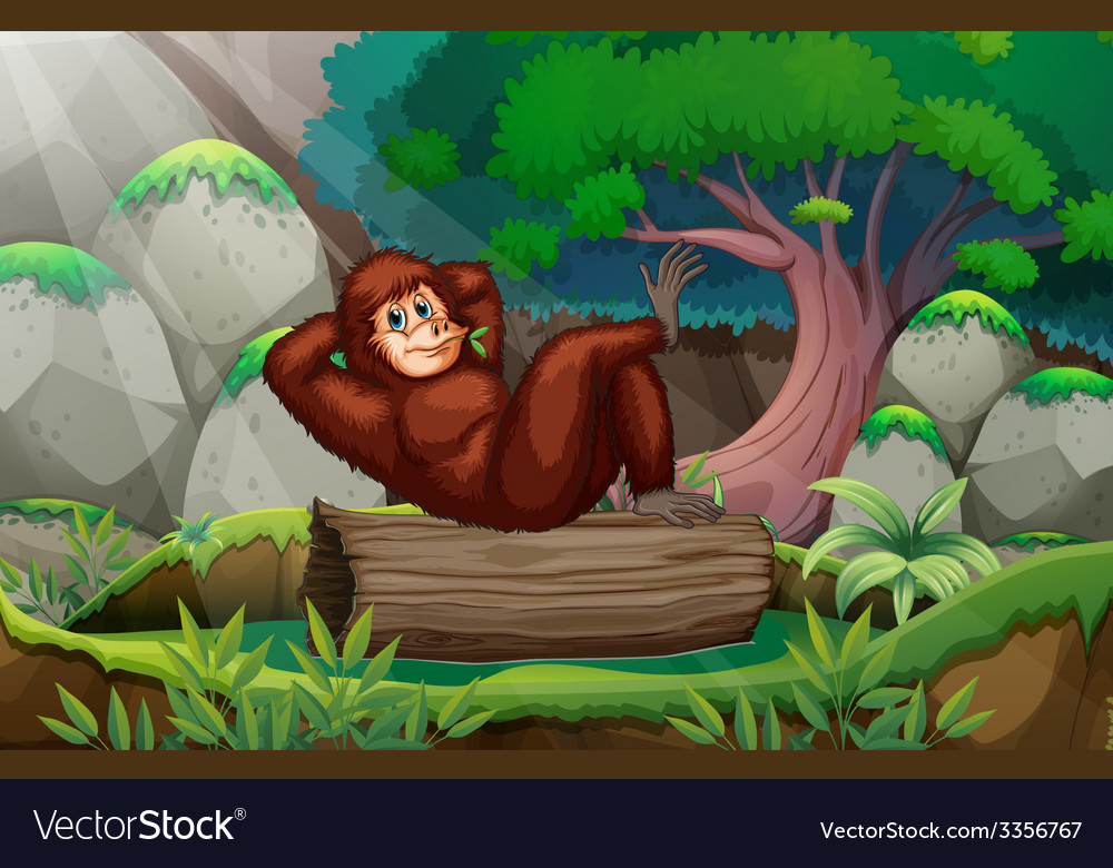 A gorilla at the forest vector | Price: 3 Credit (USD $3)