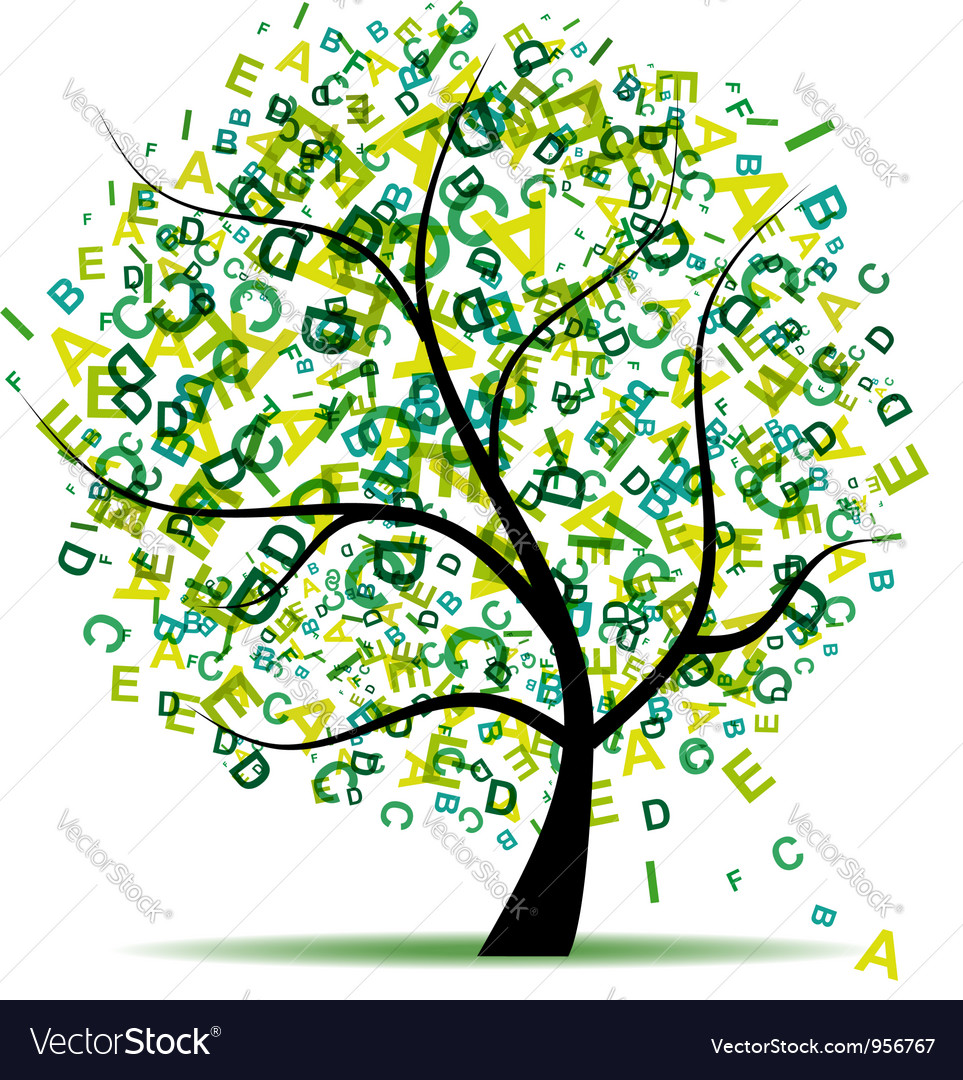Art tree with letters green for your design vector | Price: 1 Credit (USD $1)
