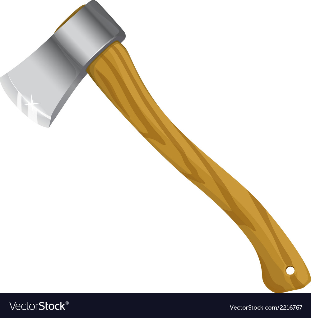 Axe with wooden handle vector | Price: 1 Credit (USD $1)
