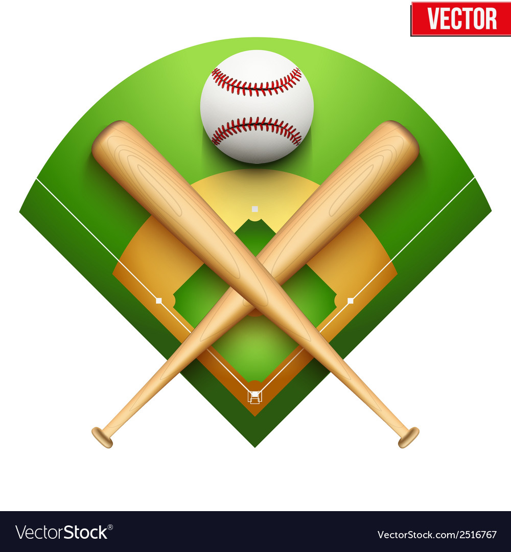 Baseball leather ball and wooden bats vector | Price: 1 Credit (USD $1)