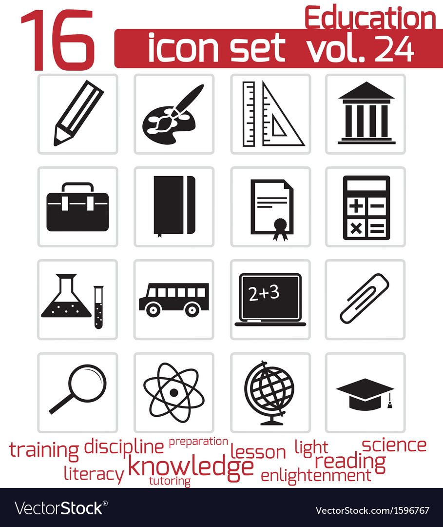 Black education icon set vector   Price: 1 Credit (USD $1)