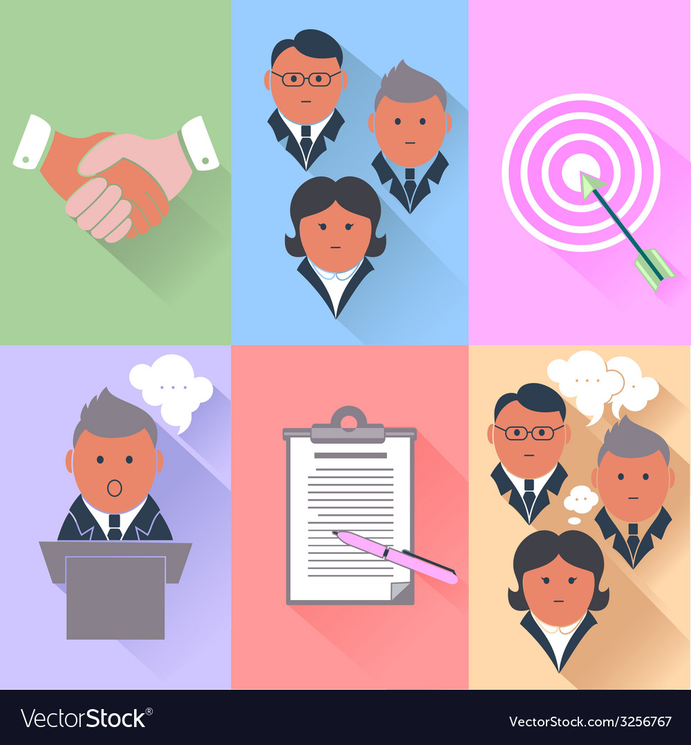 Business partnership management teamwork icons vector | Price: 1 Credit (USD $1)